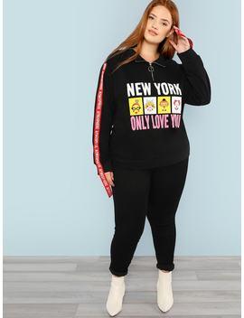 Plus Zip Front Lettering Tape Detail Sweatshirt by Shein