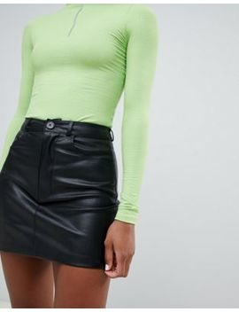 Pull&Bear Button Top Pu Skirt by Pull&Bear
