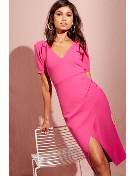 Puff Sleeve Wrap Midi Dress by Boohoo
