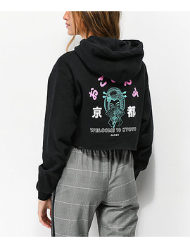 Empyre Welcome To Kyoto Black Crop Hoodie by Empyre
