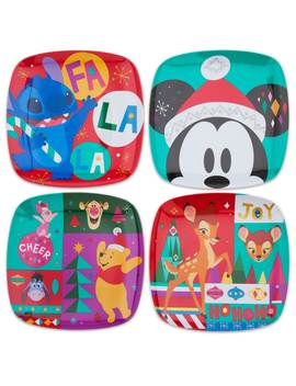 Mickey Mouse And Friends Holiday Cheer Plate Set   4 Pc. by Disney