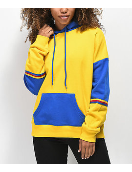 Zine Wesley Yellow & Blue Colorblock Hoodie by Zine