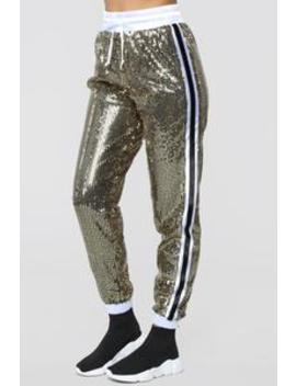 Shine Bright Sequin Joggers   Gold by Fashion Nova