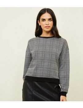 Black Hertiage Check Fine Knit Top by New Look