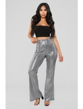 Disco Love Flare Pants   Silver by Fashion Nova
