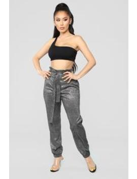 Shine Through Tie Waist Joggers   Silver by Fashion Nova