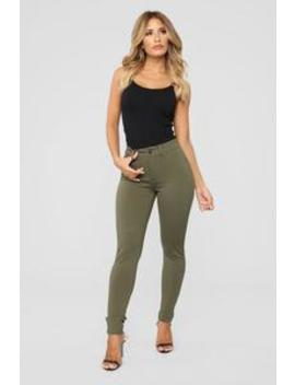 My Every Occasion Ponte Pants   Olive by Fashion Nova