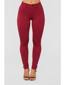 My Every Occasion Ponte Pants   Wine by Fashion Nova