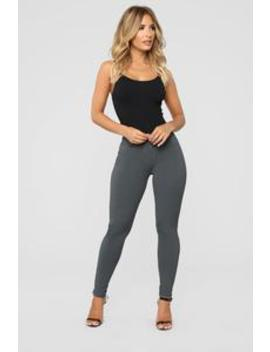 My Every Occasion Ponte Pants   Charcoal by Fashion Nova