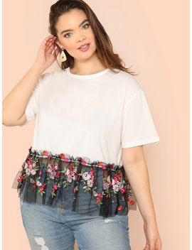 Plus Floral Embroidered Mesh Hem Mixed Media Tee by Shein