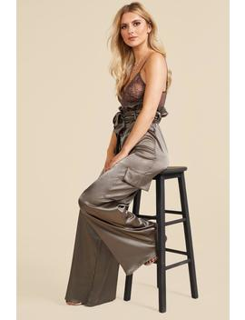 Satin Paperbag Utility Wide Leg Trousers by Boohoo