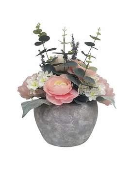 Peony Flower Arrangement In Pot by Dunelm