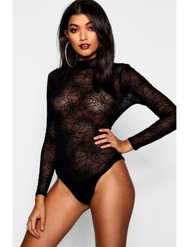 Spider Web Mesh Halloween Bodysuit by Boohoo