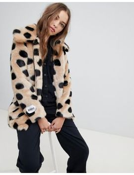 Jakke Mid Length Faux Fur Coat In Spot by Jakke