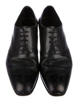 Prada Leather Round Toe Oxfords by Prada