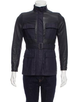 Theory Leather Trimmed Zip Up Jacket by Theory