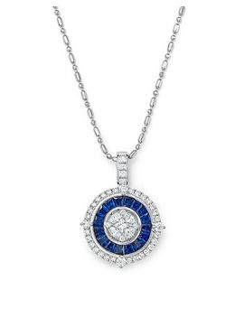 "Blue Sapphire And Diamond Halo Pendant Necklace In 14 K White Gold, 18""   100 Percents Exclusive by Bloomingdale's"