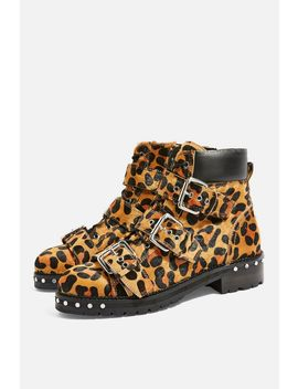Animal Leopard Print Hiker Boots by Topshop