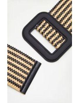 Black Striped Raffia Wide Buckle Waist Belt by Prettylittlething