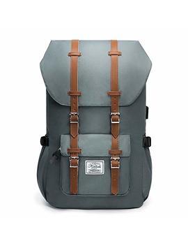 Kalidi Schulru Tasche Laptop Canvas Lässig Tagesrucksack Mit Usb Ladeanschluss Rucksack 50 Cm, Blue Gray by Amazon