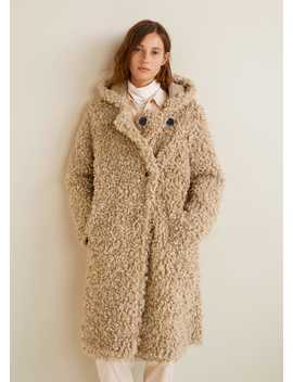 Faux Shearling Hooded Coat by Mango