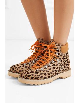 Roccia Vet Leopard Print Calf Hair Ankle Boots by Diemme