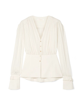 Paneled Silk Chiffon And Cady Blouse by Chloé
