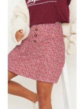 Petite Burgundy Polkadot Button Detail Mini Skirt by Prettylittlething
