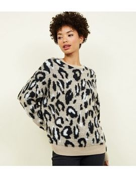 Brown Fluffy Leopard Print Jumper by New Look