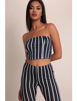 Navy/White Bandeau Top by I Saw It First