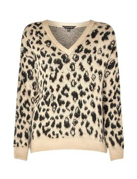 Beige Brushed Leopard Print V Neck Jumper by Dorothy Perkins