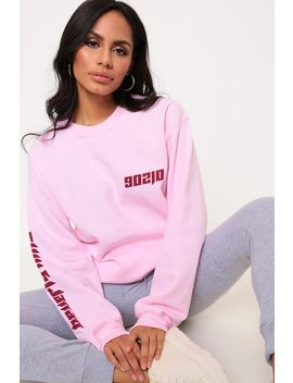 Light Pink Beverly Hills Printed Sleeve Oversized Sweater by I Saw It First