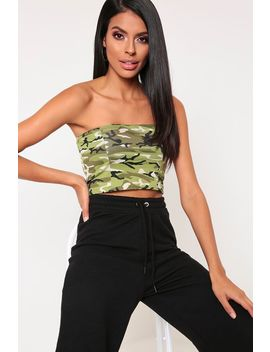 Green Camo Print Bandeau Top by I Saw It First
