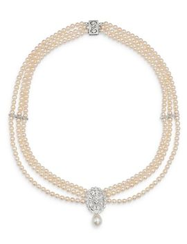 "Diamond & Cultured Freshwater Pearl Bib Necklace In 14 K White Gold, 17""   100 Percents Exclusive by Bloomingdale's"