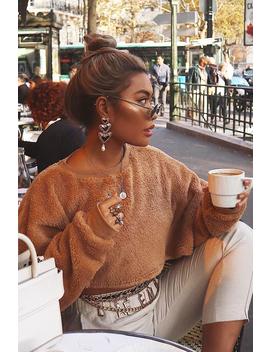 Camel Fluffy Long Sleeve Crop Jumper   Noura by Rebellious Fashion