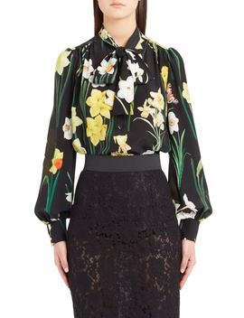 Daffodil Print Tie Neck Silk Blouse by Dolce&Gabbana