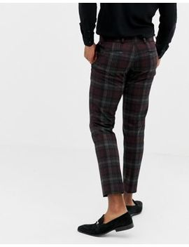 Burton Menswear Skinny Fit Smart Trousers In Burgundy Check by Burton Menswear London