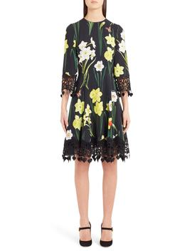 Daffodil Print Crochet Trim Cady Dress by Dolce&Gabbana