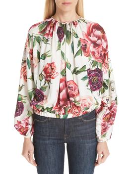 Peony Print Gathered Stretch Silk Blouse by Dolce&Gabbana