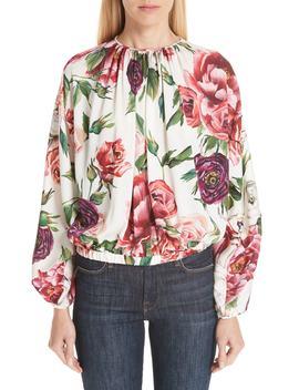 peony-print-gathered-stretch-silk-blouse by dolce&gabbana