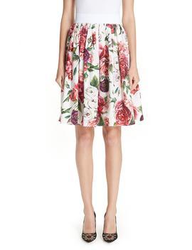 Peony Print Cotton Poplin Skirt by Dolce&Gabbana