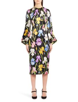 Iris Print Stretch Satin Dress by Dolce&Gabbana