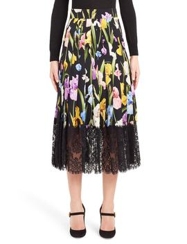 Iris Print Silk Blend Skirt by Dolce&Gabbana