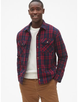 Sherpa Lined Plaid Shirt Jacket by Gap