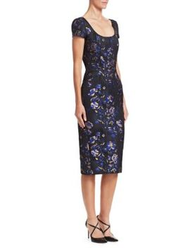 Floral Jacquard Cocktail Dress by Zac Posen
