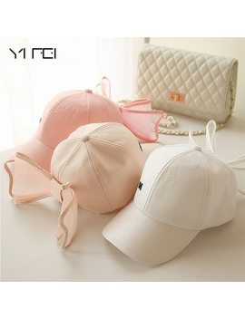 New Fashion Korea Lovely Hats Black Pink White Colors Cotton Mesh Mark Bow Caps For Women Girls Big Bowknot Baseball Cap by Yanyanmumu