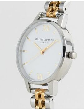 Olivia Burton Ob16 Mdw34 White Dial Bracelet Watch In Mixed Metal by Olivia Burton