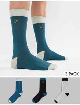 Farah Derby 3 Pack Heel And Toe Socks by Farah