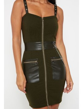 Zip Detail Leather Dress   Khaki by Maniere De Voir
