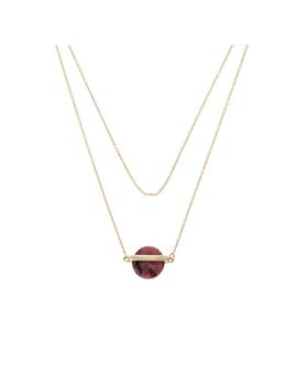 Agera Circular Stone & Bar Gold Plated Necklace by Olivar Bonas
